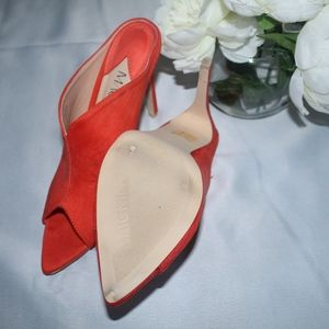 MACKIN J Shoes - Coral Orange Peep toe Mule heels
